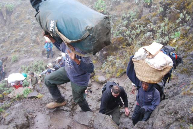 Kilimanjaro porters on Barranco wall